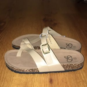 Women brand new sandals cream tan color